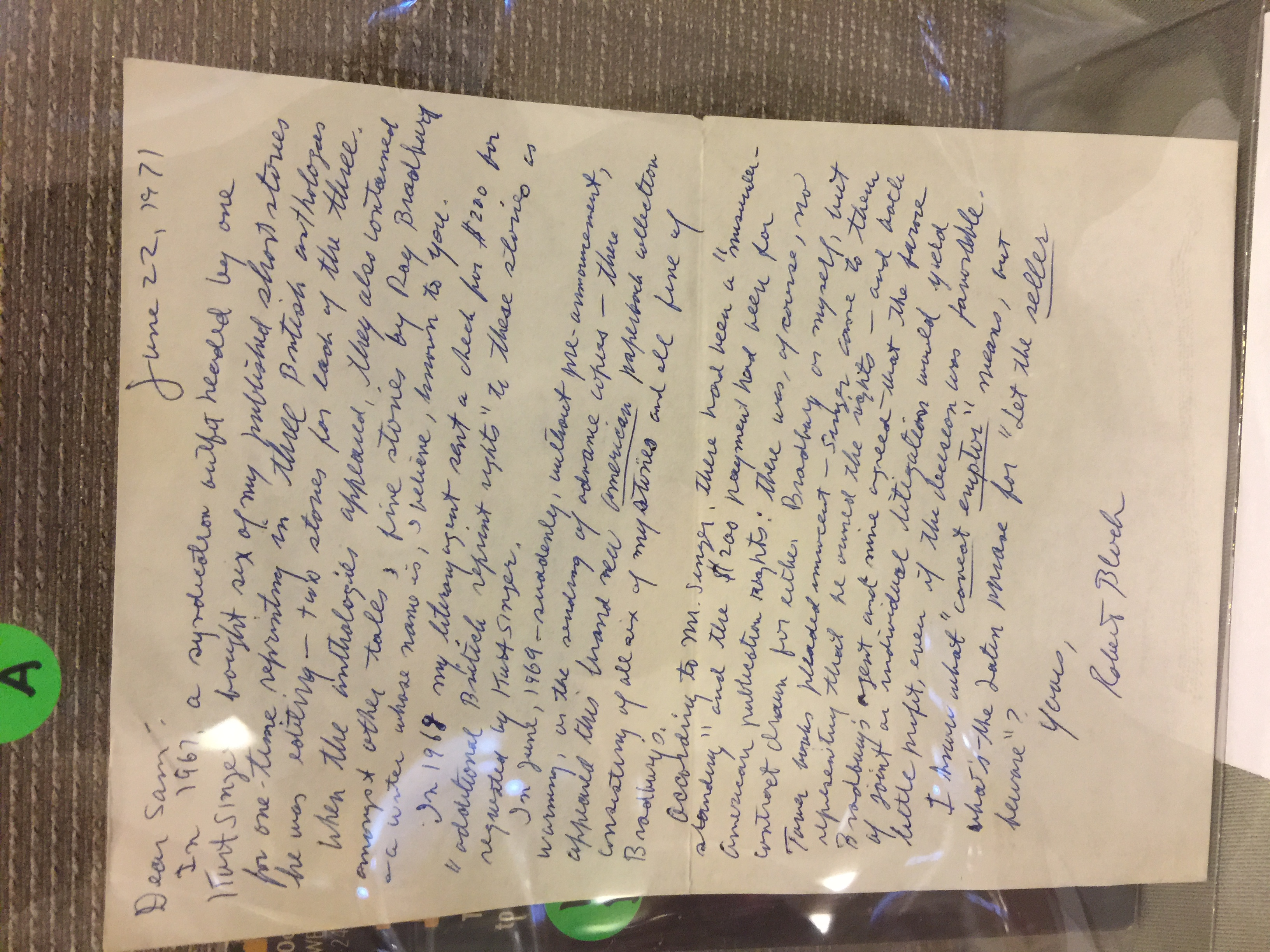 Robert Bloch letter to Sam Peeples, one of two in the auction